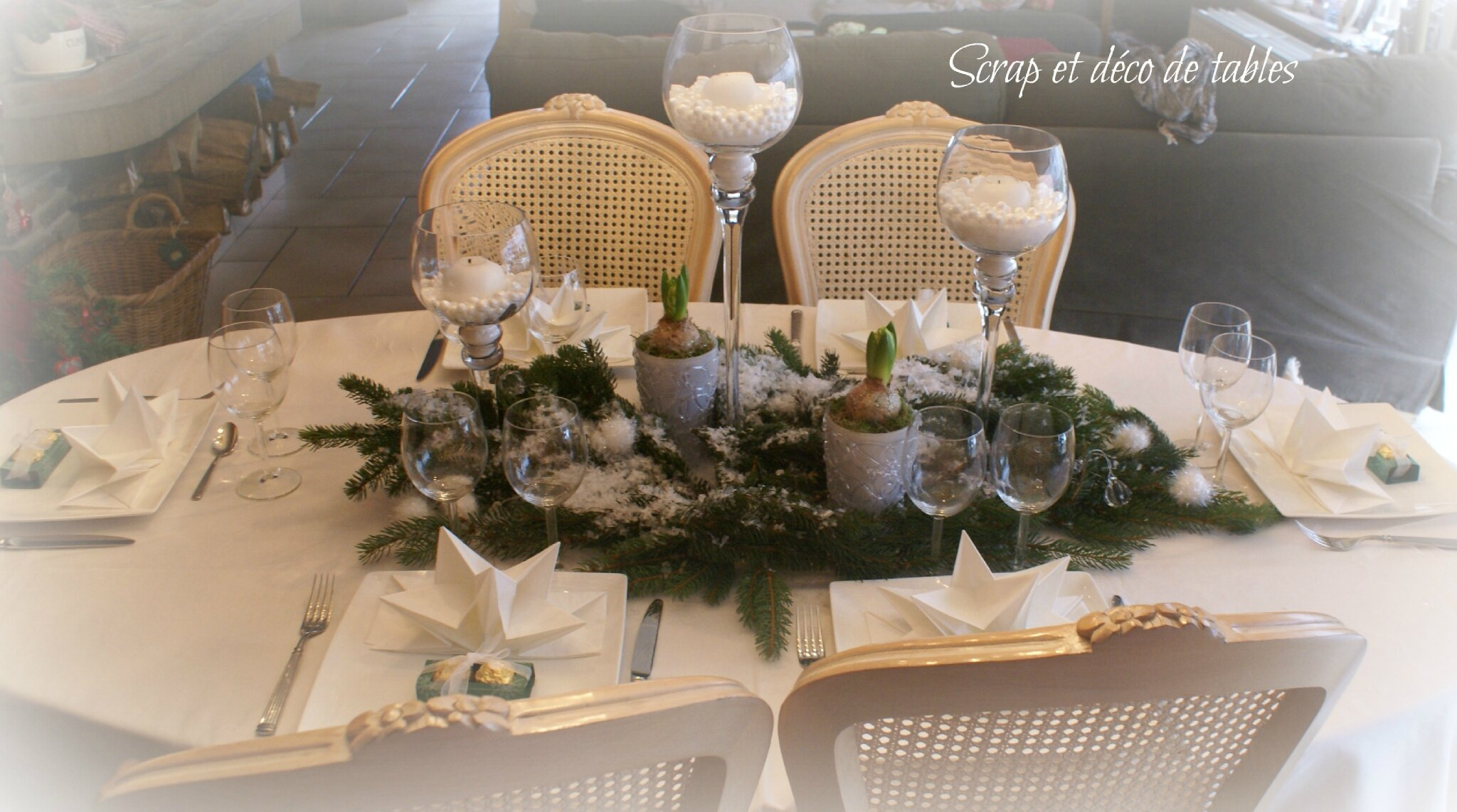 Deco table de no l en blanc scrap et d co de tables - Deco table de noel blanc ...