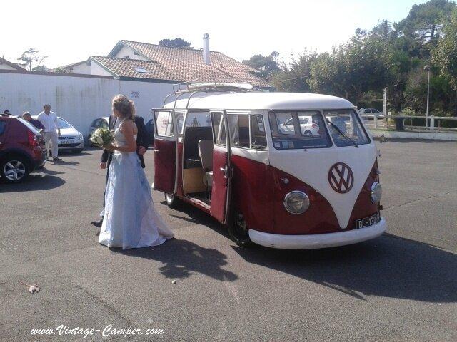mariage en combi split dans le pays basque - Location Combi Volkswagen Mariage