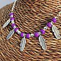 collier plume violet (cc89)