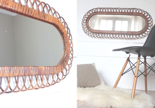 grand miroir vintage ovale en rotin Trendy Little 6
