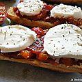 Tartines tomates, poivrons, sauce barbecue et mozzarella
