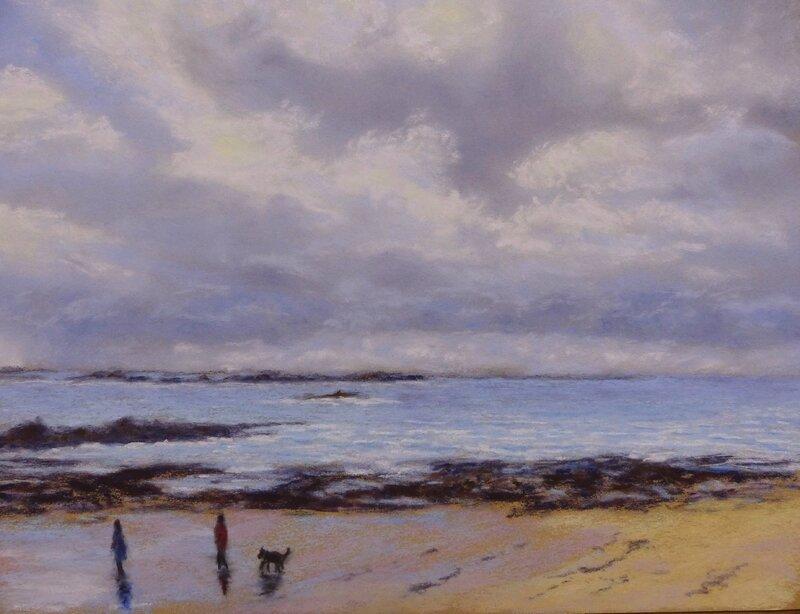 0182 promenade sir la plage pastel card 35x28 01 2017