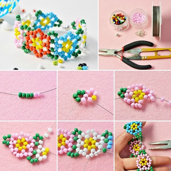 600-Pandahall-Free-Instructions-on-Making-Candy-Colored-Seed-Bead-Flower-Bracelet-for-Summer