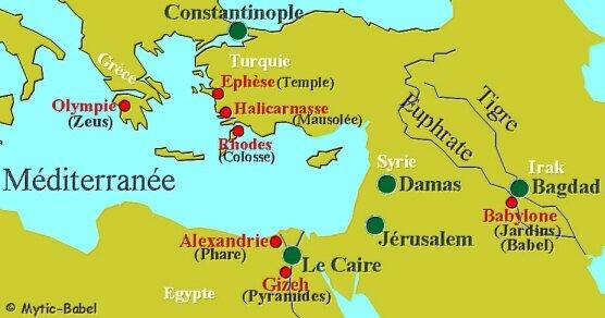 carte merveilles du monde antique