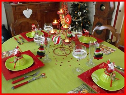 table de noël rouge et anis 22 - photo de table de noël rouge et