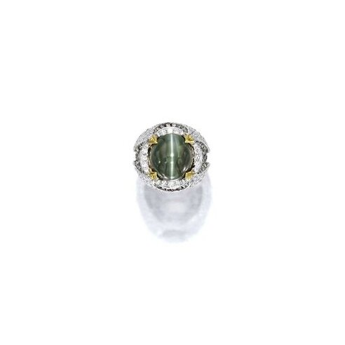Alexandrite Cat's-Eye Chrysoberyl and Diamond Ring