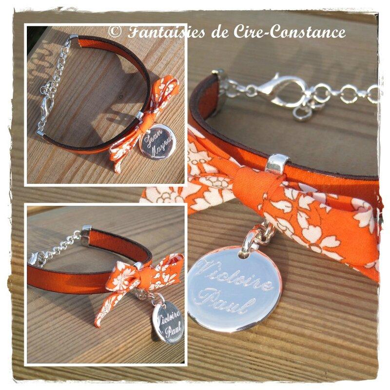 Bracelet Diane orange capel médaille 20 mm bombée gravée