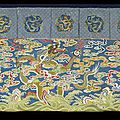 A large silk table frontal embroidered with three imperial dragons amongst clouds. chinese, qianlong period, 1736-1795