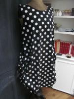 Robe CELESTE en coton noir BUBBLE à grosses pastilles blanches (5)