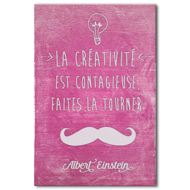 tableau-citation-celebrite-albert-einstein-creativite-rose
