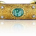 Buccellati. an emerald, diamond and gold cuff bracelet