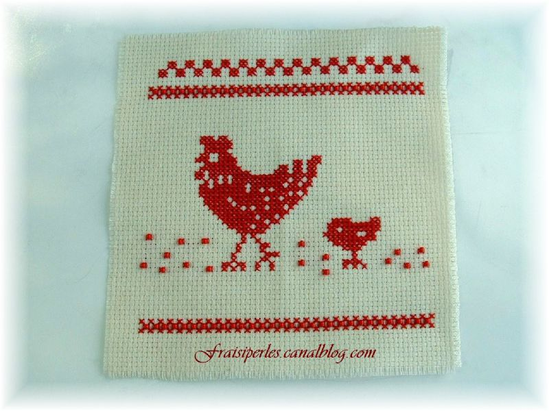 Broderie poule