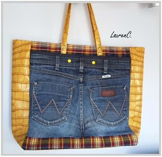 SAC JEAN SIMILI JAUNE CARREAUX DOS