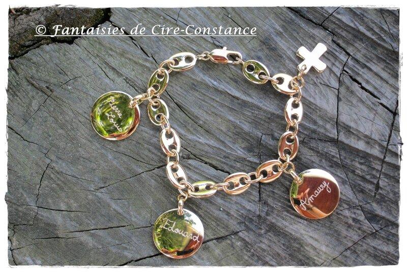 bracelet grain de café plaqué or médailles gravées-1