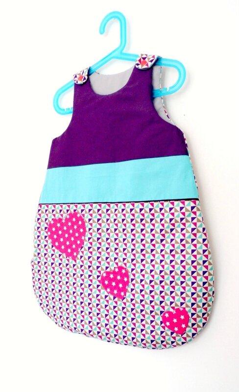 Turbulette 0 6 mois bébé fille violet turquoise