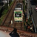 Toden 7000 (7010形) view from Keisei Machiya eki platform