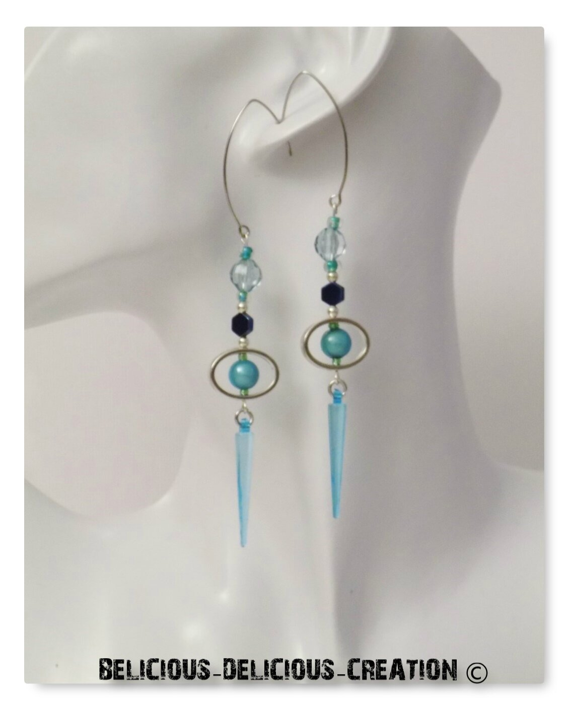 Original Boucles d'oreilles !! HEXADONACONE !! en Plastique et Metal Blue T: 8cm BELICIOUS-DELICIOUS-CREATION
