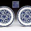 A fine pair of blue and white porcelain dishes. qianlong (1736-1795)