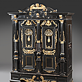 Importante armoire en bois noirci et doré, nuremberg, fin xviième - début xviiième siècle