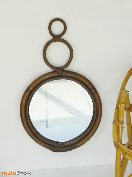 D co vintage miroir en bambou et osier 2 anneaux for Miroir rotin osier