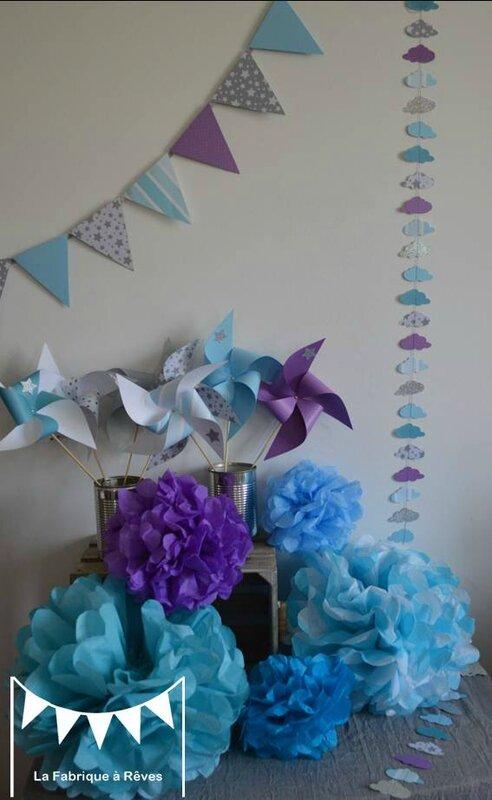 D coration bapt me gar on turquoise gris blanc violet for Decoration de chambre turquoise