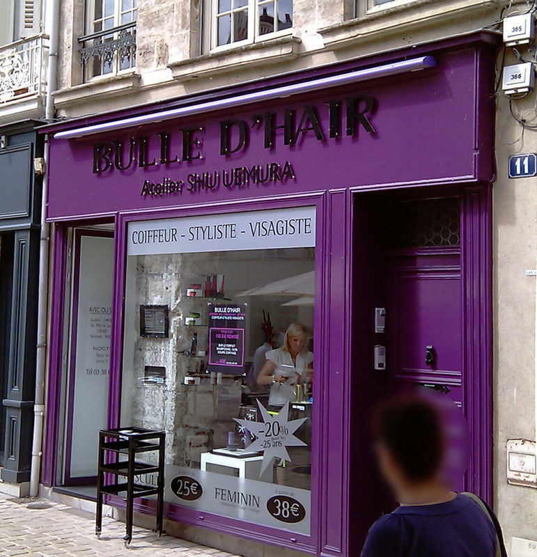 Bulle d 39 hair orl ans vitrine devanture humour photo for Salon n 6 orleans