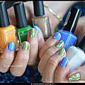 Nail art aux couleurs du paon