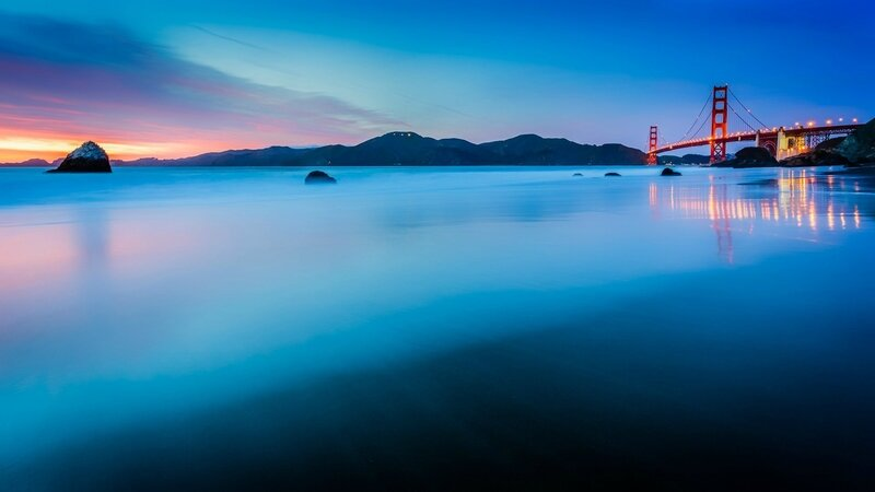 united-states-california-san-francisco-golden-gate-bridge-lights-ocean-strait-beach-calm-night-sunset-blue-turquoise-sky-clouds