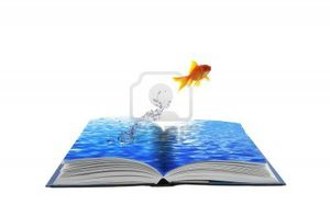 10489330-golden-fish-jumping-across-water-book-conceptual-idea