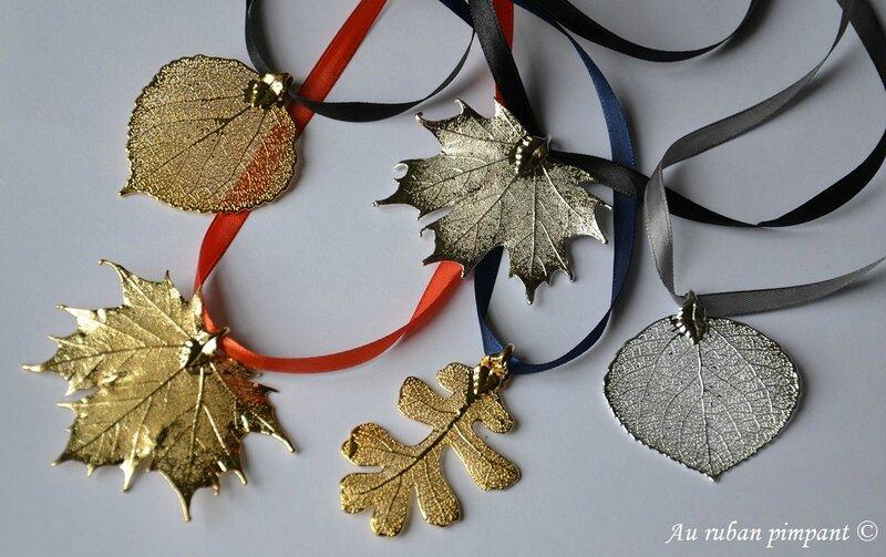 Pendentifs véritables feuilles or ou argent