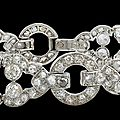 Circa 1920's cartier platinum diamond bracelet in platinum