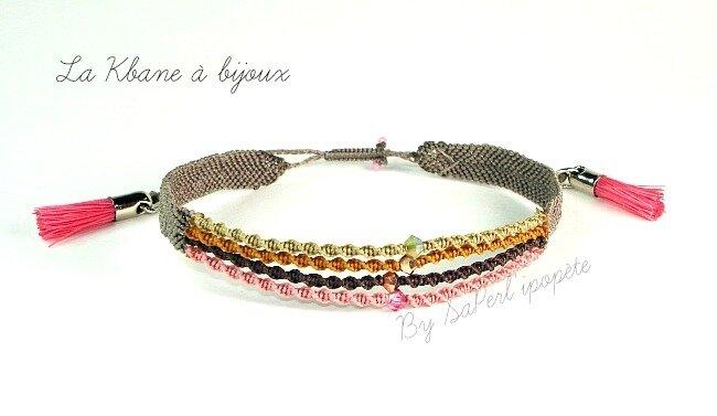 bracelet macramé pompons roses cristal roseor gold sand opal1