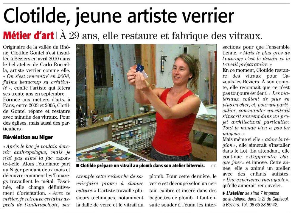 ARTICLE SUR LE MIDI LIBRE, SEPTEMBRE 2013