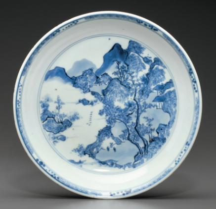 A blue and white dish, Early Kangxi period, circa 1670