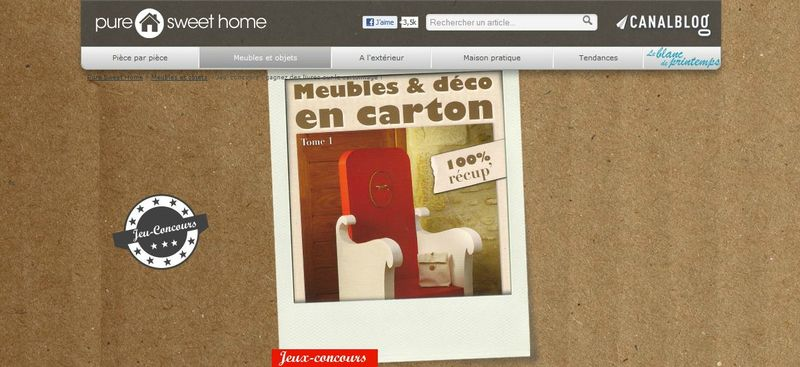 le tome 1 de notre livre meubles d co en carton dans pure sweet home mobilier en carton. Black Bedroom Furniture Sets. Home Design Ideas