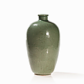 Longquan bluish green celadon vase, china, yuan-ming dynasty, 13th-14th century