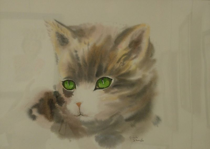 Tête de Chat - Aquarelle