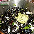 Moules au pesto de cresson.