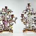 Important pair of meissen candelabras with chinese boys, 1750s
