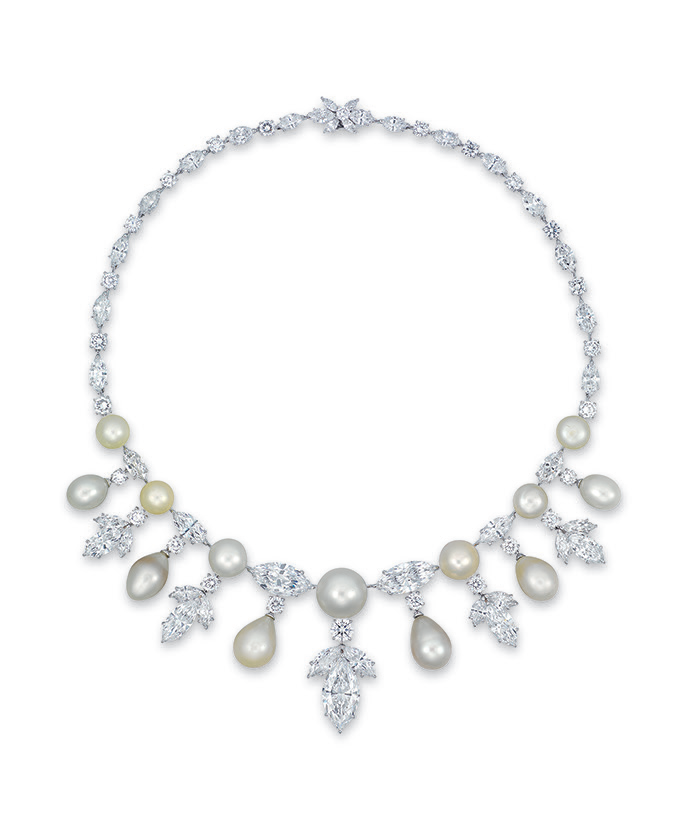 An elegant natural pearl and diamond necklace, by Moussaieff