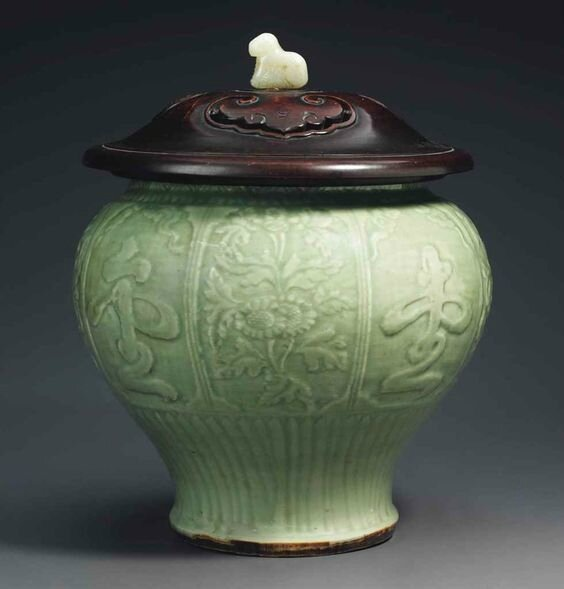 A Longquan celadon carved jar, Ming dynasty, 14th-15th century