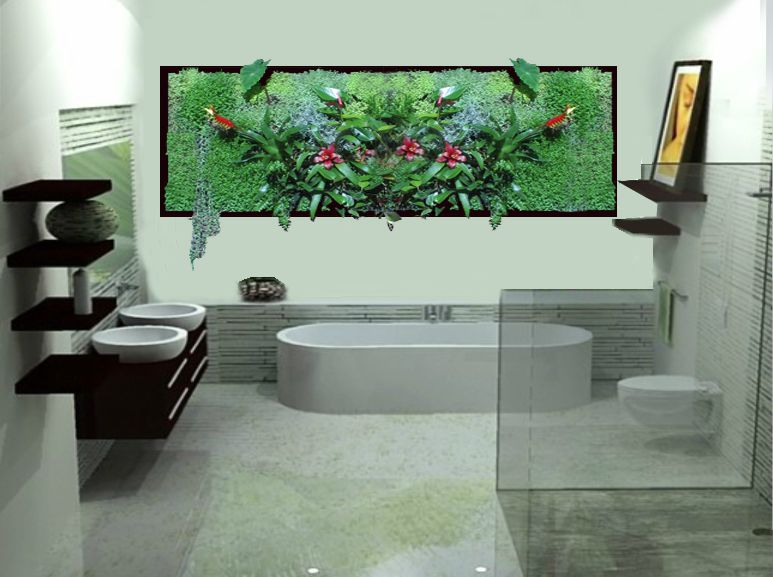 salle de bain plus v g taux photo de cadre vegetal mural grow in design. Black Bedroom Furniture Sets. Home Design Ideas