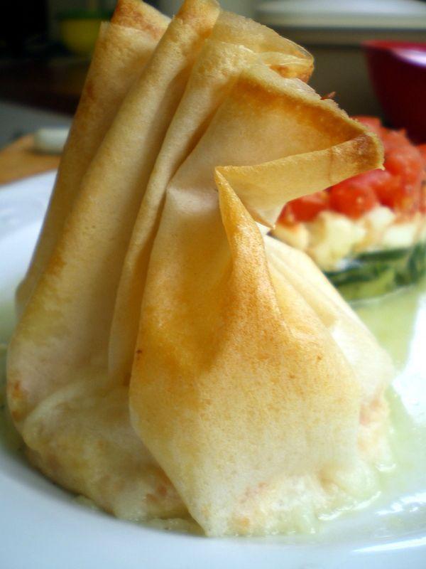 Aum ni re de brick au saumon fum et wasabi cuisiner avec ses 5 sens - Cuisiner la feuille de brick ...