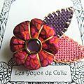 ♥ irea ♥ broche textile japonisante fleur potiron feuille - les yoyos de calie