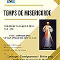 Temps de miséricorde dimanche 14 janvier à 15h à la maison paroissiale