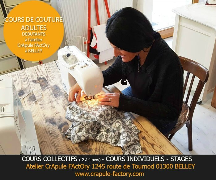 COURS COUTURE ADULTES DEBUTANTS atelier crapule factory 01300 Belley cours individuel ou Collectif