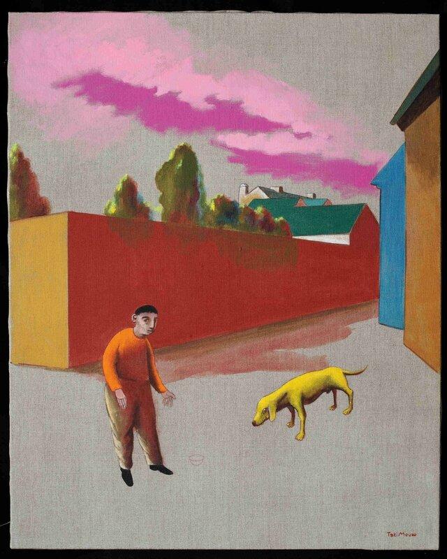 chien jaune au couchant-acrylique sur toile, 60x80 cm