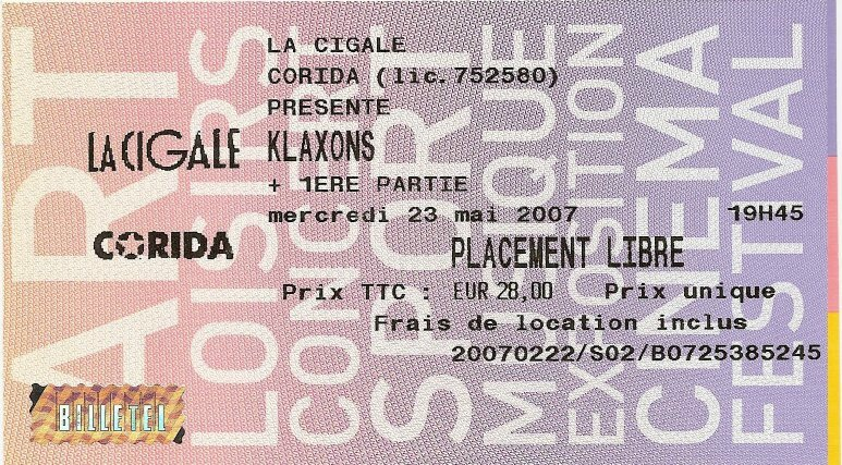 2007 Klaxons Cigale Billet