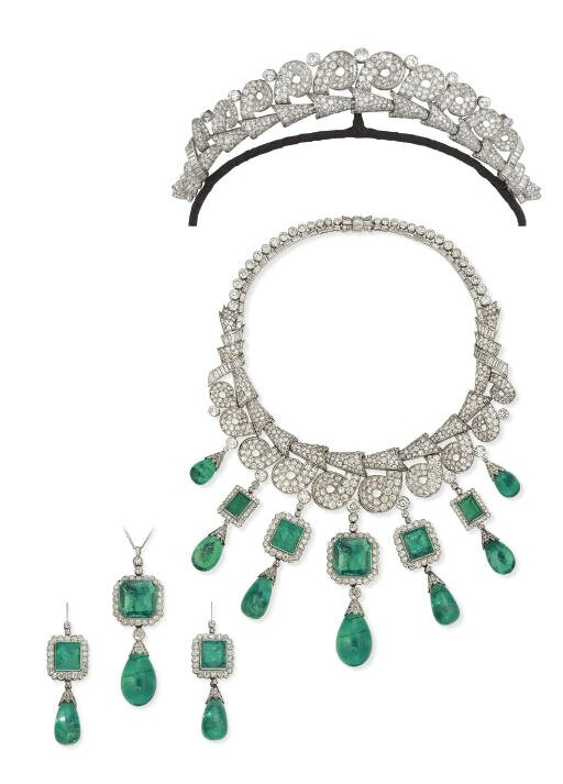An historic emerald and diamond necklace-tiara
