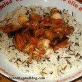 Riz sauvage, sauce tomate fruits de mer-aubergines